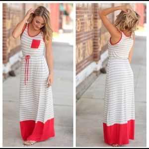 Coming soon!!!  Gray & white striped maxi dress.